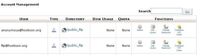 FTP fiók beállításai
