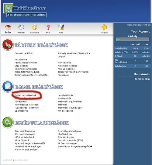E-Mail fiók létrehozása Directadmin 1.