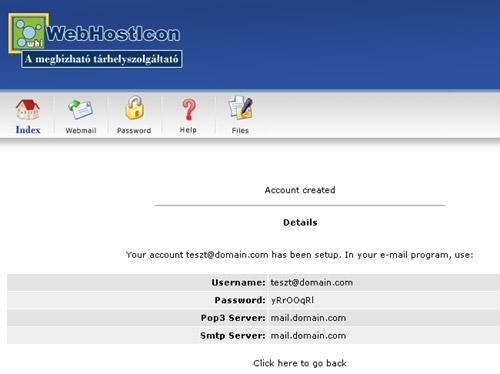 E-Mail fiók létrehozása - Directadmin 3.