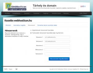 Domain névszerverének módosítása