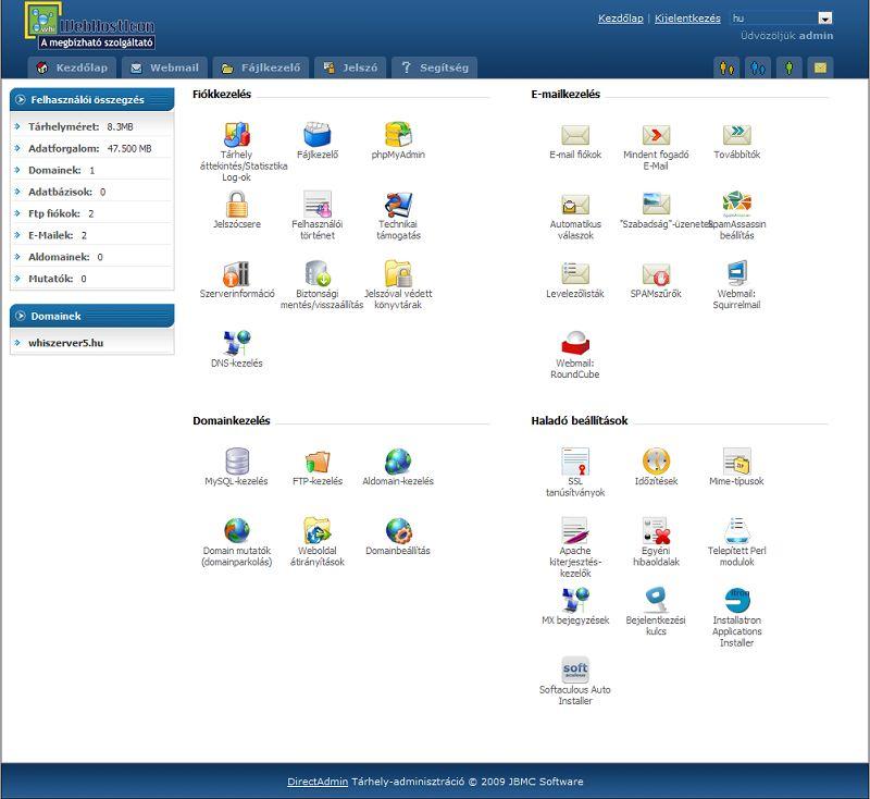 Directadmin tárhely adminisztrációs felület