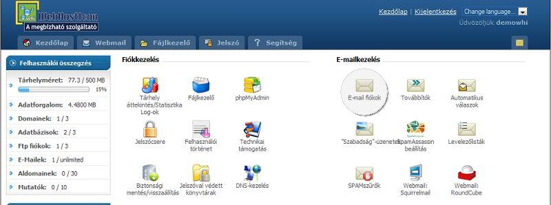 E-mail fiók létrehozása a tárhelyen