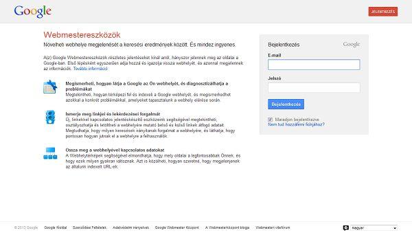 Google Webmestereszközök regisztráció