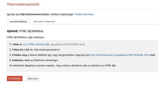 Google Webmestereszközök weblap ellenőrzése