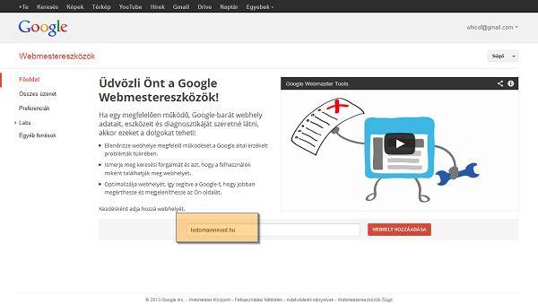 Google Webmestereszközök weblap hozzáadása