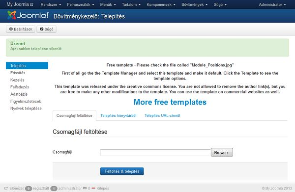 Joomla sablon telepítése 2. lépés