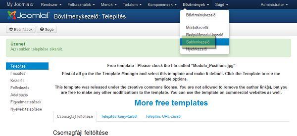 Joomla sablon telepítése 3. lépés