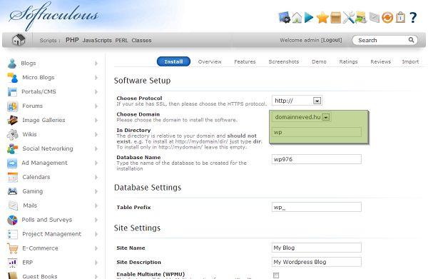 WordPress telepítés további lépései