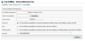 FTP-fiók létrehozási adatok