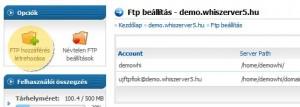 FTP-fiók létrehozása